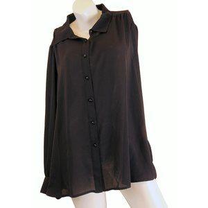 Joan Rivers Black Button Up Blouse Size XL - NWOT